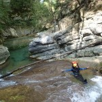 Vasque du vallon de la Carleva en canyoning extrême près de Nice