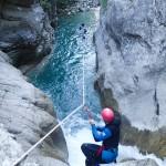 Tyrolienne en canyoning près de Castellane et des Gorges du Verdon dans la clue de Saint-Auban