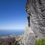 voie Nuages aux antennes (7a+) sur la falaise de Bastia Pignu en Corse à côté de Bastia
